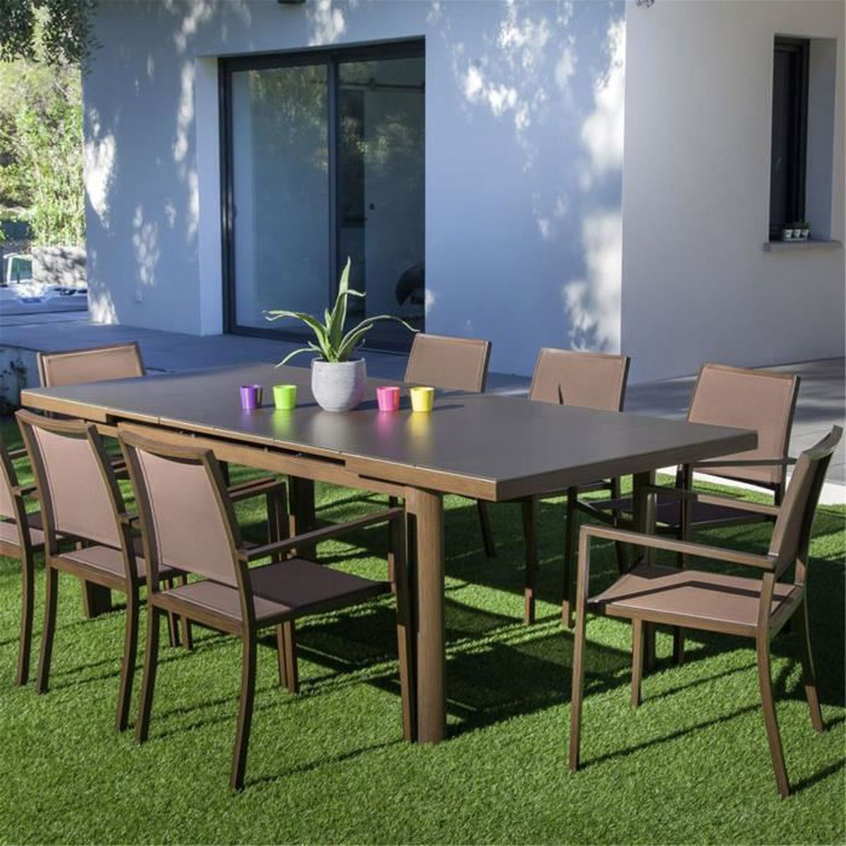 Jacinthe Table de jardin extensible marron en verre texturé (6 à 8 ...
