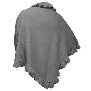 Débardeur femme gris taille unique Tricot Laineux À Rayures Poncho Cape Châle Wrap Cardigan