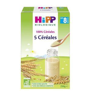CÉRÉALES BÉBÉ HIPP Biologique 5 Céréales - Boîte de 250 g - Dès