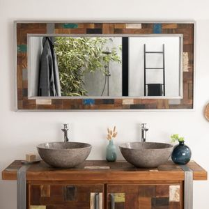 grand miroir en bois achat vente grand miroir en bois pas cher cdiscount. Black Bedroom Furniture Sets. Home Design Ideas
