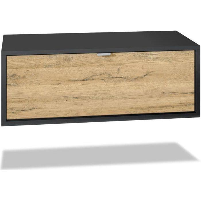 Meuble TV Lana 80 armoire murale lowboard 80 x 29 x 37 cm, caisson en noir mat, façades en Chêne Nature