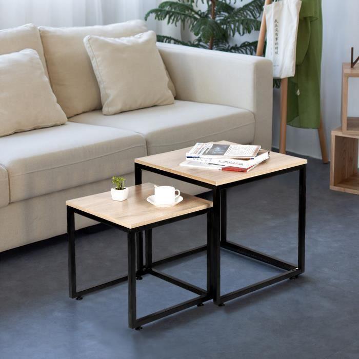 YIDS Lot de 2 Tables basses gigognes design industriel 50x50cm+40x40cm - Pied en métal noir - Style industriel