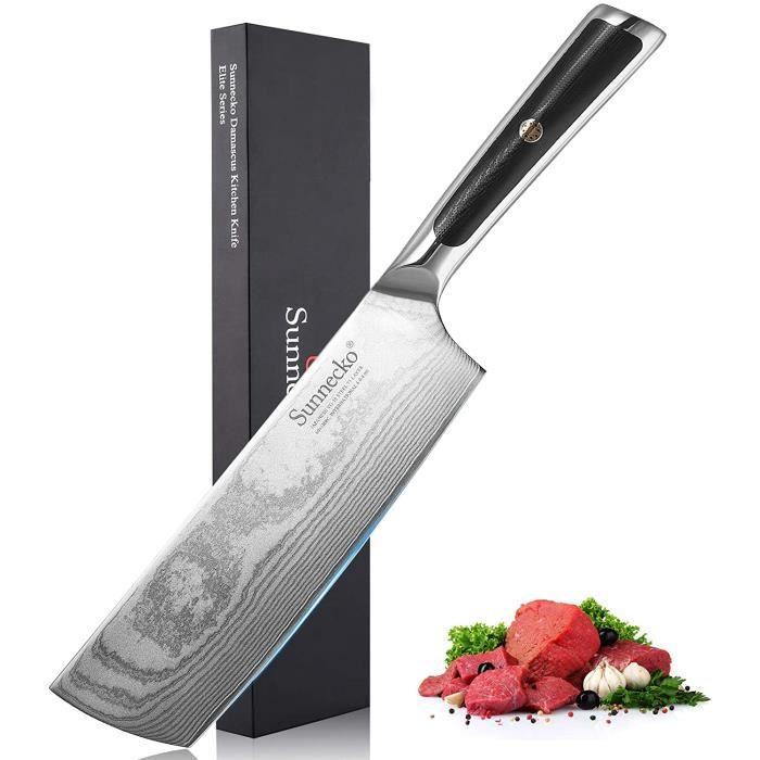 Sunnecko Couperet Couteau Damas 18cm Feuille de Boucher Couteau de Chef Couteau Japonais Lame en Acier Damas 73 Plis VG-10 Fourré &P