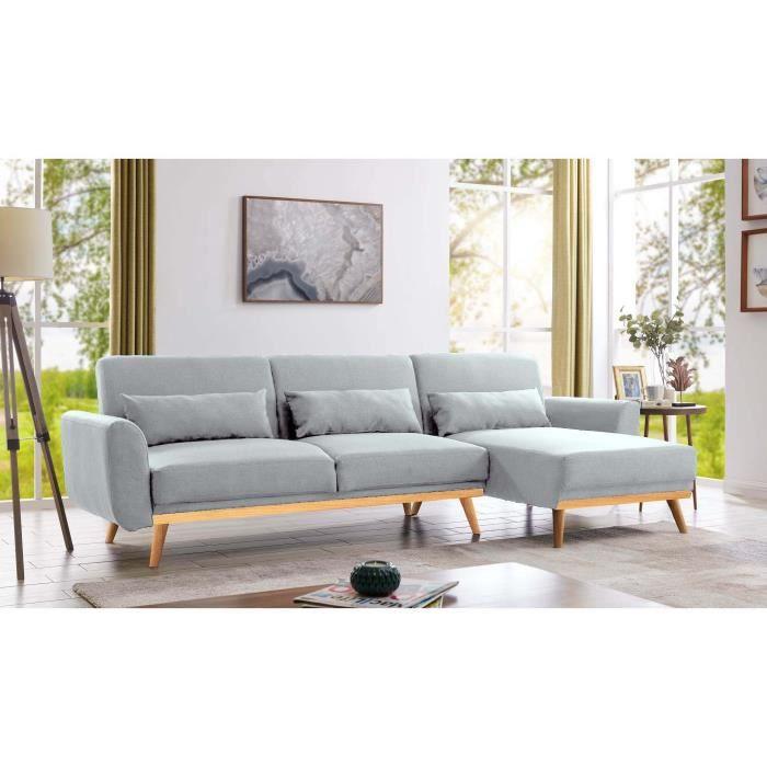 Canapé d'angle scandinave convertible et réversible en tissu gris PITA