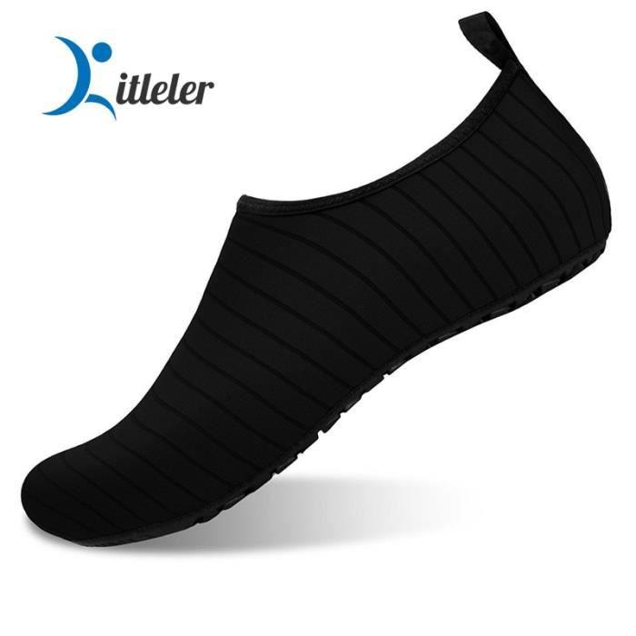 K01-Black 37 -L'été Aqua Chaussures Unisexe antidérapant Léger Chaussures De Plage pour Les Femmes Séchage Rapide Eau Chaussures