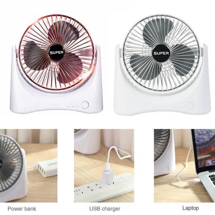 Mini ventilateur de bureau - USB portable Mini Ventilateur à Main Portatif Silencieux - Ventilateur de Poche à Piles - Rond argent