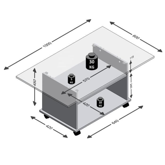 Parfait - Table basse style Scandinave - Bout de canapé Table à thé avec roulettes Gris béton et blanc @591678