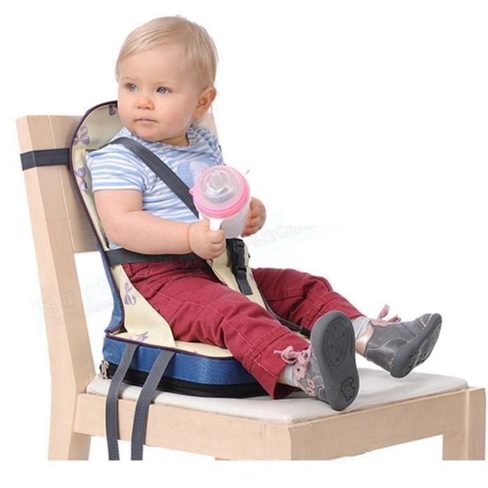 Pliant siège rehausseur Coussin de Chaise haute pour bébé avec harnais 5 points sécurité en tissu de fibre ,nylon et éponge (Bleu)