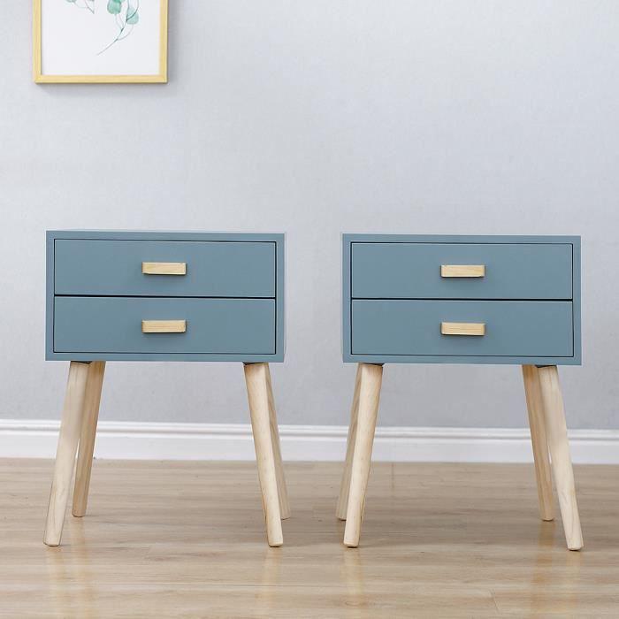 Table de chevet Bleu clair Casnely pour Chambre en bois massif - Lot de 2
