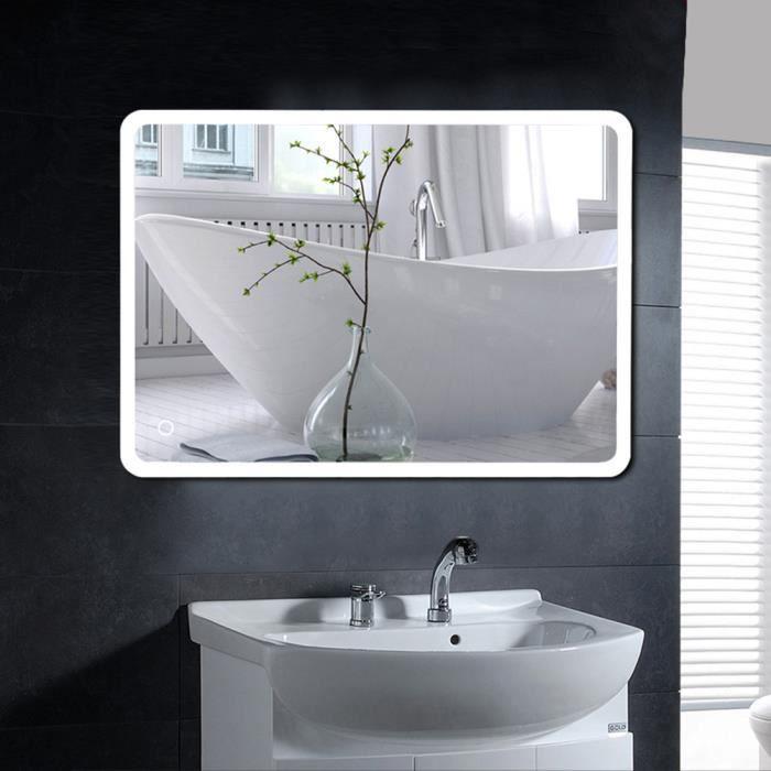 Miroir de salle de bain LED angle arrondi 120*70CM*4mm design moderne