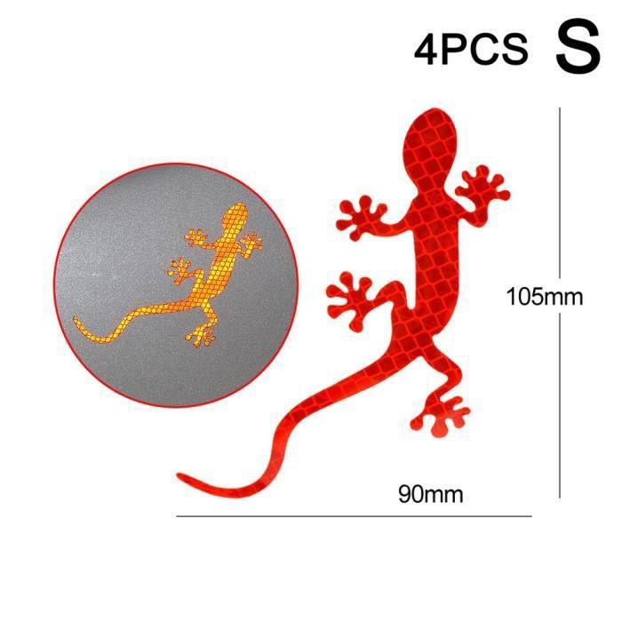 Accessoire vélo,Bandes réfléchissantes de voiture Gecko forme avertissement bande réflecteur autocollant - Type red S 4pcs #C
