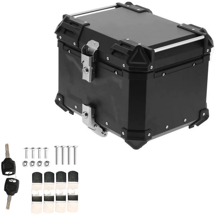 Akozon Universel Noir 45L Moto Aventure En Alliage D'aluminium Top Case Queue Boîte Porte-Bagages Queue Boîte Top Case Moto Bag A158