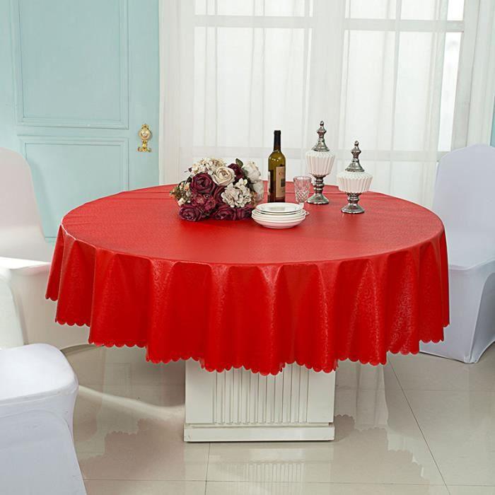 Nappe de Table jacquard Rouge Nappe Ronde 200cm Mariage Étanche À l'huile Lavage Gratuit idéal pour Maison, Restaurant