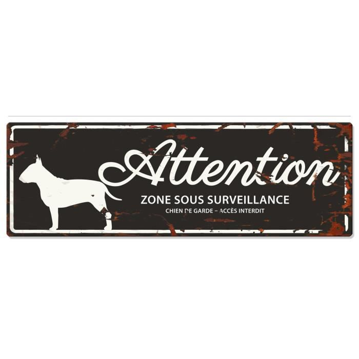 D&D Plaque Attention Chien Bull Terrier - Noir
