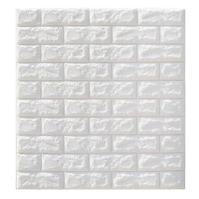 Stickers 3D muraux en brique auto-adhésifs panneau autocollant papier peint Décor mural canapé (blanc) OBJET DE DECORATION MURALE