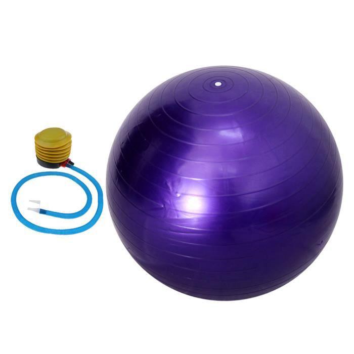 Ballon de Yoga 55 cm Avec Pompe Anti-éclatement Exercice Équilibre Séance d'Entraînement Violet