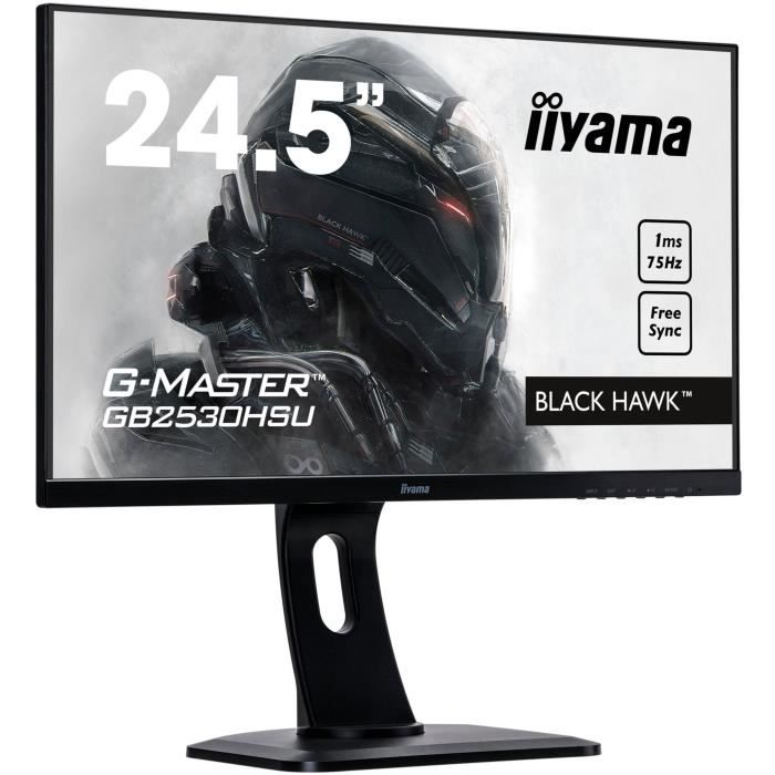 IIYAMA Ecran LED 24 pouces - G-Master GB2530HSU-B1 Black Hawk - Dalle TN - 1 ms - VGA/HDMI/DisplayPort - Technologie FreeSync