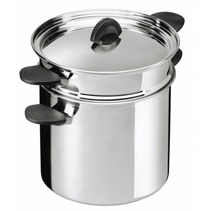 Kuhn Rikon 37308 Luna Cookware Marmite à pâtes insert Acier inoxydable Compatible induction 22 cm-6,5 l