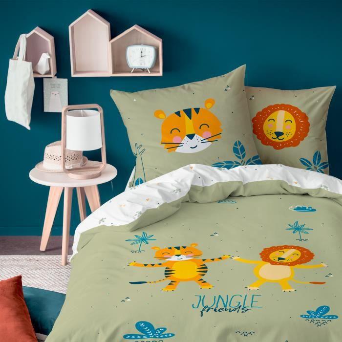 Parure enfant Jungle Friends Matt&Rose Housse de couette + taie d'oreiller - Taille: 140x200 cm - couleur : Kaki