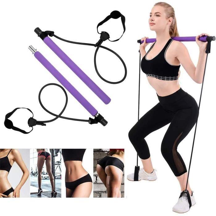 XIONGMIN 5 Kit de barre de pilates portable avec bande de résistance,longue barre de résistance-bâton de yoga-barre d'exercice pour
