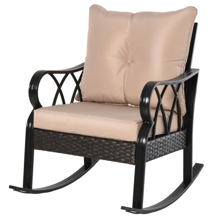 Rocking chair fauteuil à bascule grand confort style cosy coussins assise dossier déhoussable beige résine tressée imitation rotin