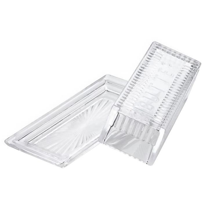 1 assiette à beurre rectangulaire en verre avec couvercle boîte de rangement pour vaisselle BEURRIER - HUILIER - VINAIGRIER