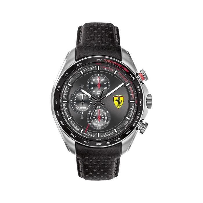 Scuderia Ferrari Homme Analogique Quartz Montre avec Bracelet en Cuir 0830648 7668