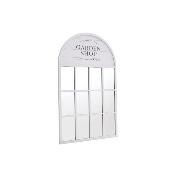 Miroir mural verrière design bois Garden - L. 60 x H. 100 cm - Blanc