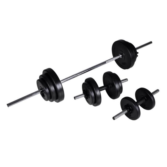 Kit de barre d'Haltère et 2 haltères 30,5 kg avec 12 disques et poignée antidérapante Design ergonomique pour exercices à la maison
