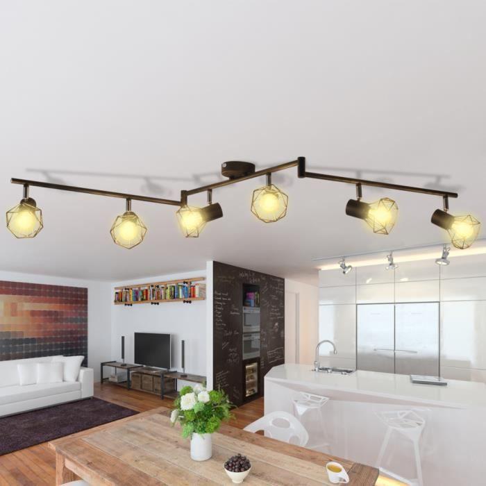 Spot de plafond vintage Noir cadre en métal laqué projecteur style industriel à 6 ampoules LED à incandescence blanc chaud