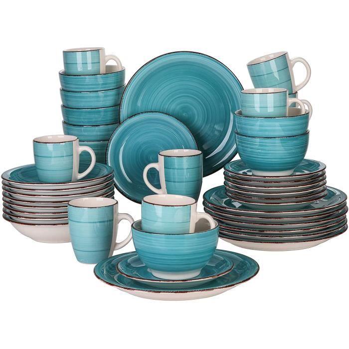 vancasso, Série Bella, Service de Table en Porcelaine,Faïence Style Vintage Rustique,Motif Cercle Arbre-Menthe -40pcs