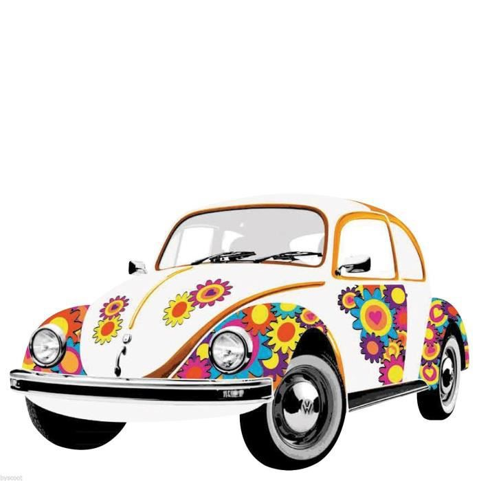 sticker mural volkswagen new beetle coccinelle fleurs color mur deco hippie achat vente. Black Bedroom Furniture Sets. Home Design Ideas