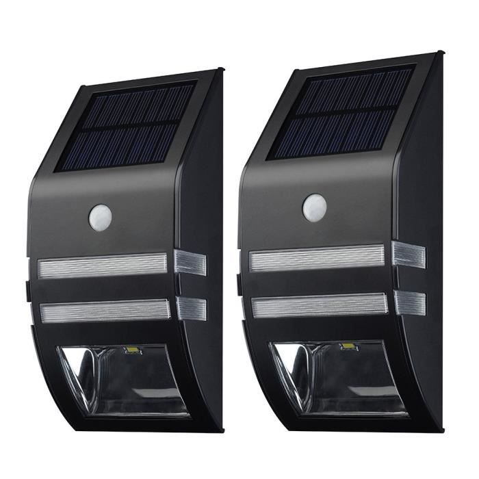 lampe solaire murale led 2 pack eclairage solaires d 39 exterieur detecteurs de mouvement. Black Bedroom Furniture Sets. Home Design Ideas