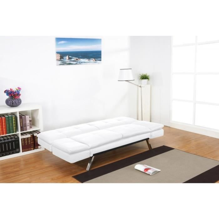 banquette convertible blanche milano simili cuir achat. Black Bedroom Furniture Sets. Home Design Ideas