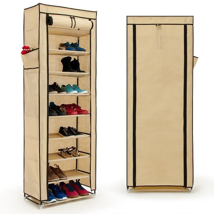 armoire pliable chaussures v tements cr me 160cm achat. Black Bedroom Furniture Sets. Home Design Ideas