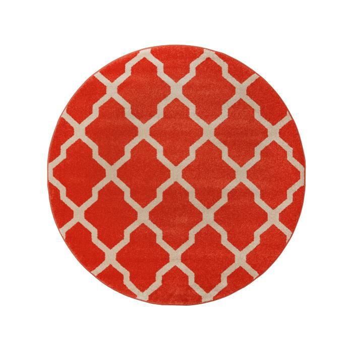 benuta tapis rond lotus orange 200 cm rond achat. Black Bedroom Furniture Sets. Home Design Ideas