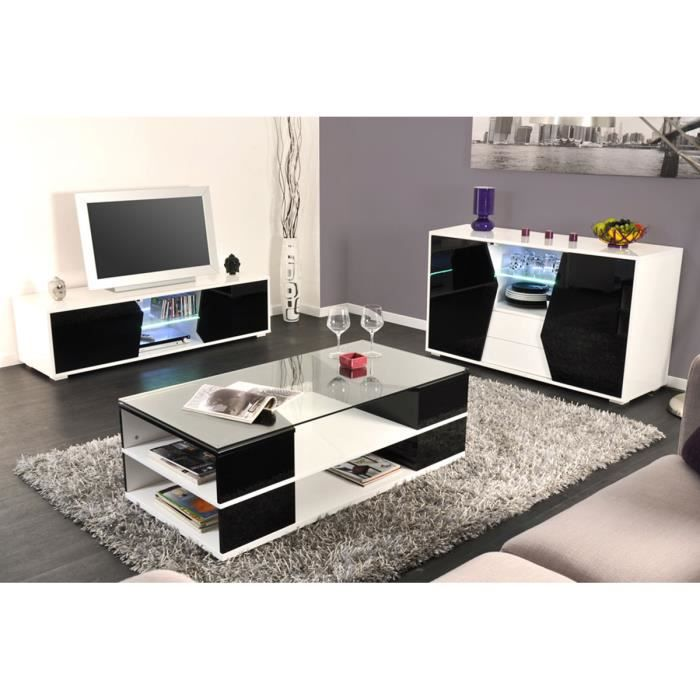 Ensemble meuble tv table basse buffet noir achat for Ensemble meuble tv et table de salon