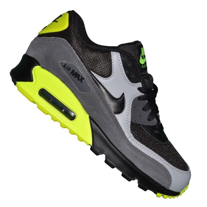 recognized brands pretty cool attractive price Nike - Basket - Femme - Air Max 90 Mesh 152 - Noir Gris Jaune Fluo ...