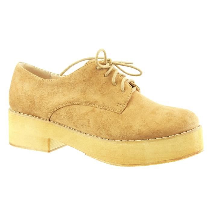 Plateforme 5 Finition L8218 Mode Bloc res Femme Derbies Angkorly Chaussure Cm Surpiq Talon Camel Coutures 6XtxwqAP
