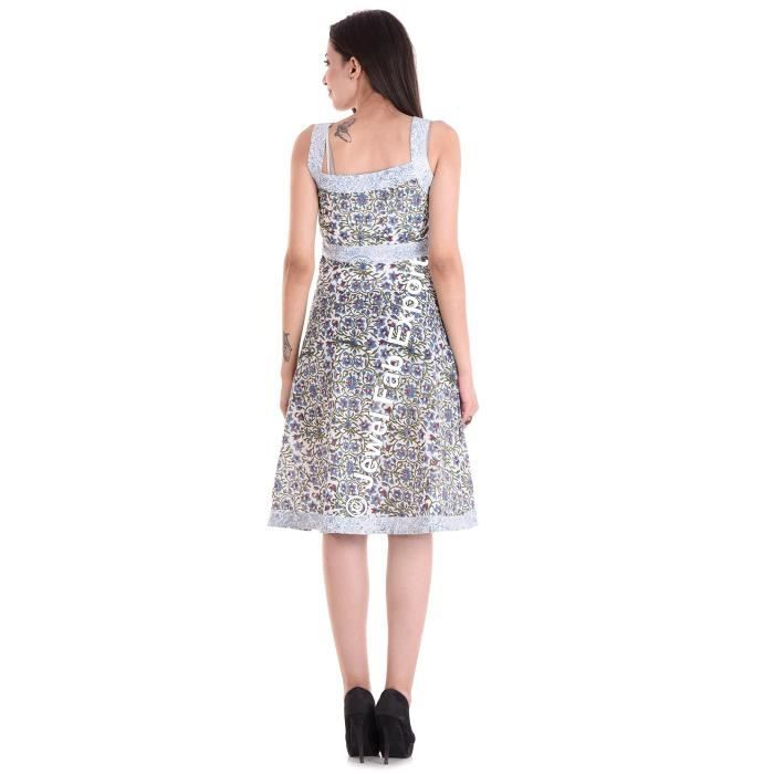 Womens Printed Cotton Sleeveless Short Beach Dress 1BTN59 Taille-40