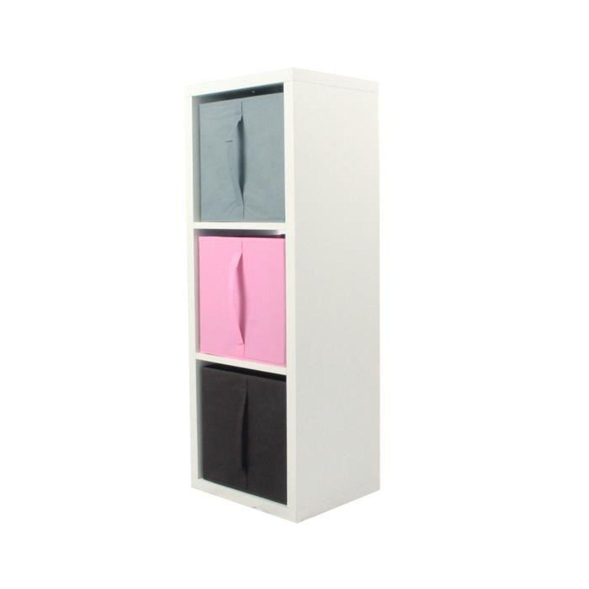 MEUBLE ÉTAGÈRE COMPO Meuble De Rangement 3 Cases + 3 Cubes Rose/G