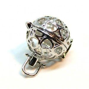 1 Cage Bola de grossesse argenté Coeur 36x28mm création bijoux SC64500