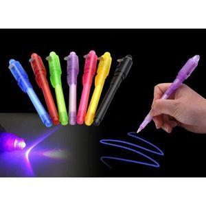 2 Pcs Stylos Bille Encre Invisible Message Secret Enfants LED Lumière Détecteur