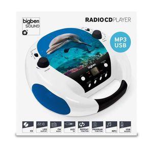 CHAINE HI-FI Lecteur CD Portable MP3 USB Bleu et blanc, motif D