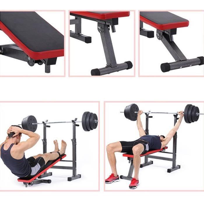Banc de musculation réglable et pliable pour abdominaux avec Support de Barres