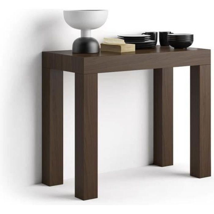 Mobili Fiver, Table Console extensible First, Noyer, Mélaminé/Aluminium, Made in Italy