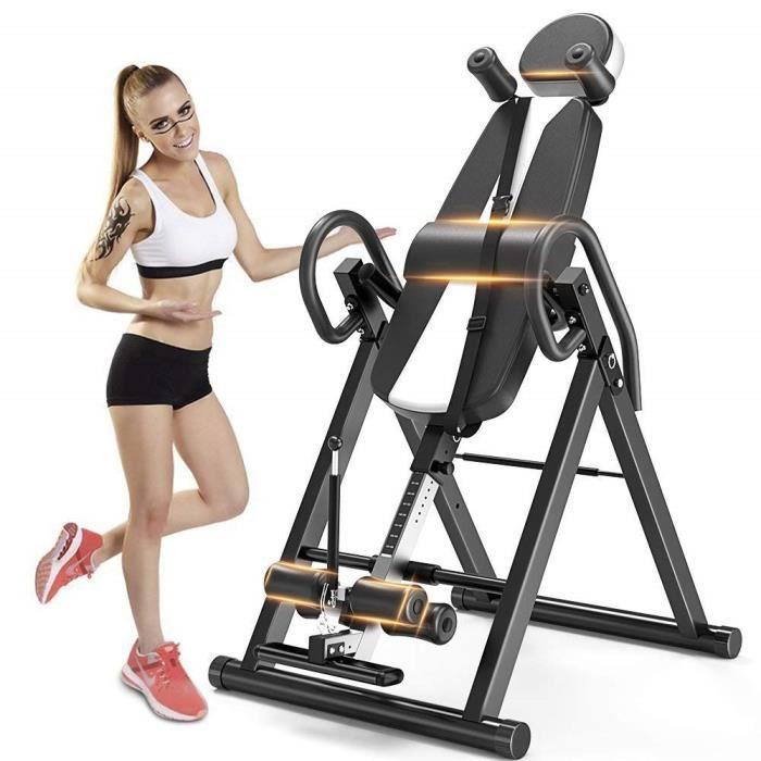 Table d'Inversion Pliable Musculation Appareil du Dos Bras Sport Exercice Maison Bureau Hiver, Support jusqu'à 150kg Taille Réglable