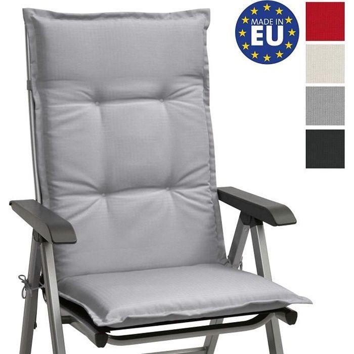 Beautissu Matelas Coussin pour Chaise Fauteuil de Jardin terrasse Base HL Haut Dossier 120x50x6cm - Gris clair ( chaise non incluse)