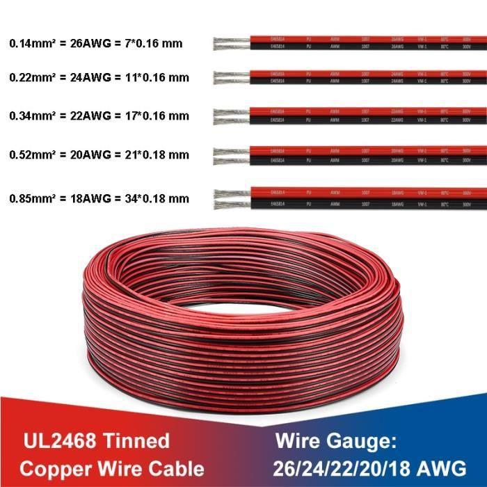 2 Pin 50m 24AWG -UL2468 2 broches fils électriques 18-20-22AWG étamé fil de cuivre rouge noir câble pour LED bande panneau solaire F