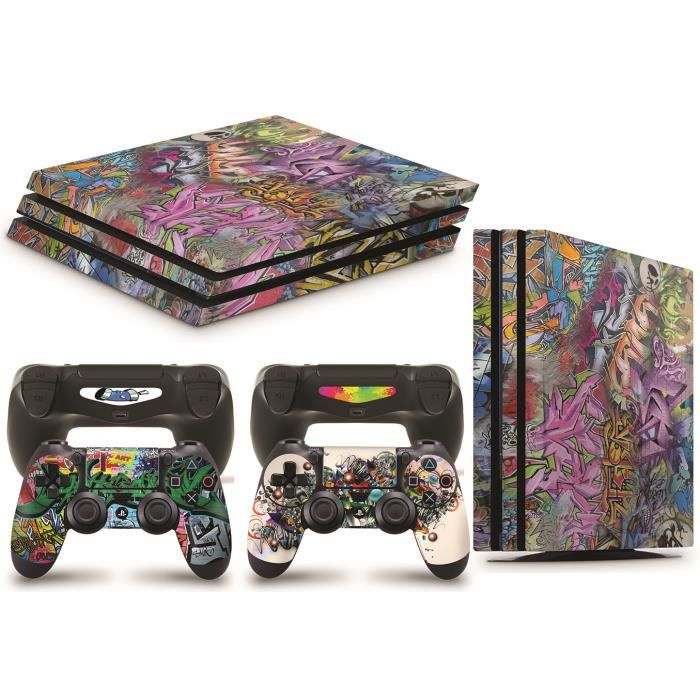 GNG PS4 PRO Console GRAFFITI Skin Decal Vinal Sticker + 2 Controller Skins Set